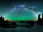 Aurora boreal y la Vía Láctea