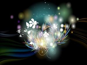 Flores entre hierbas de colores