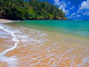 Agua de mar sobre la arena