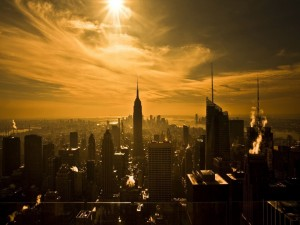 Sol iluminando Nueva York
