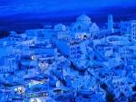 Isla Santorini de noche