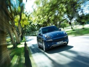 Porsche Cayenne Diesel circulando entre árboles