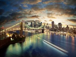 Nueva York iluminada al amanecer