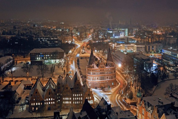 Fría noche en Lübeck (Alemania)