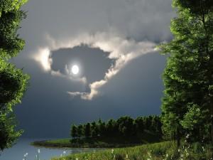 La luna llena iluminando la orilla del río
