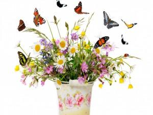 Flores silvestres y mariposas