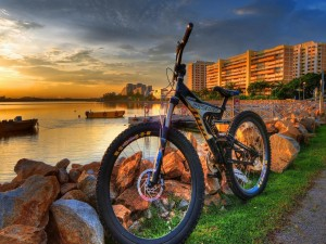 Bicicleta en la costa