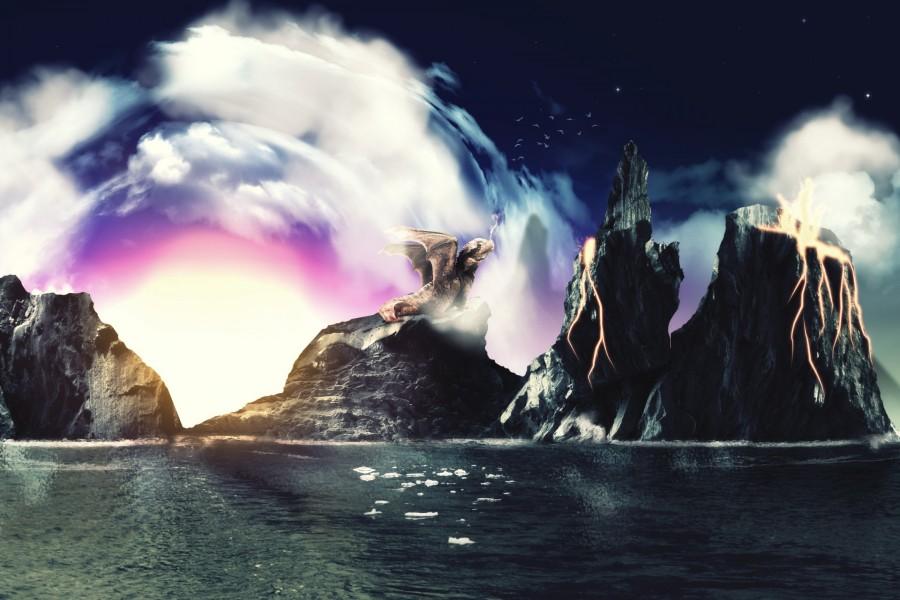Dragón sobre una roca