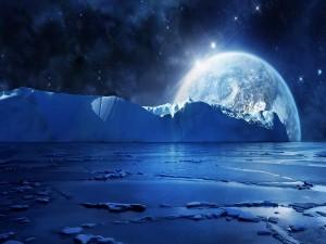 Planeta brillando en el espacio