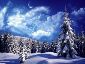 Luna sobre un paisaje nevado