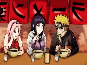 Naruto comiendo ramen junto a Hinata y Sakura (Naruto: Shippuden)