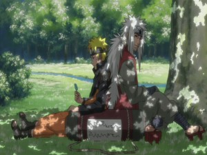 Naruto y Jiraiya descansando bajo un árbol