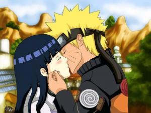 Naruto besando a Hinata