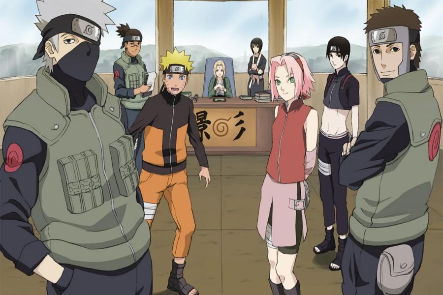 Equipo Kakashi en la oficina de la hokage