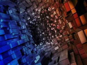 Túnel de cubos de diferentes colores