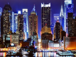 Edificios iluminados en Nueva York