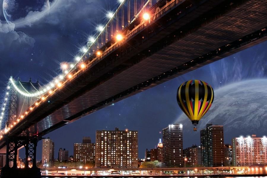 Globo junto a un puente