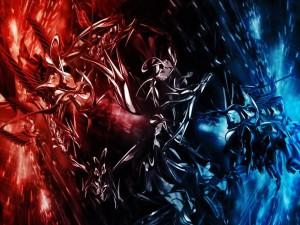 Imagen abstracta de color rojo y azul
