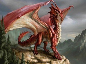 Dragon rojo sobre una roca