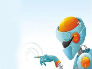 Robot naranja y azul