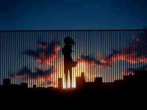 Muchacha contemplando el amanecer