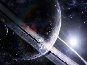 Fuerte luz iluminando unos planetas