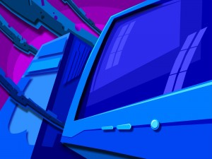 CPU junto a un monitor