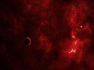 Planetas en un espacio rojizo