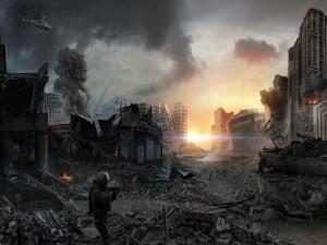 Soldado en una ciudad destruida
