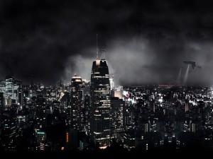 Aeronaves sobrevolando una ciudad
