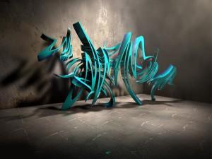 Grafiti turquesa