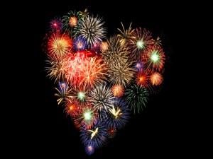 Fuegos artificiales en forma de corazón