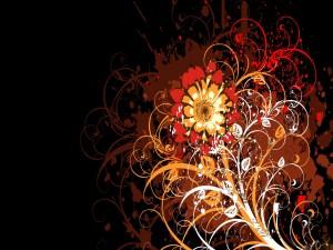 Flor en un fondo oscuro