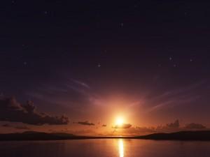Sol en un cielo estrellado