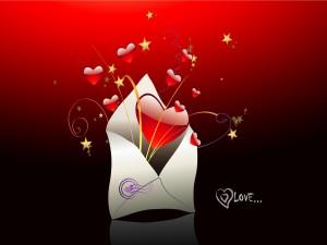Corazones amorosos saliendo de un sobre