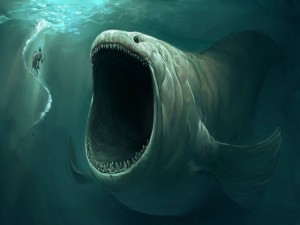 Pez con una gran boca en el océano