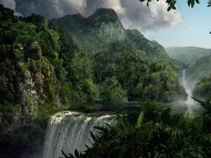 Cascadas entre montañas