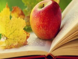 Manzana y hoja otoñal sobre un libro