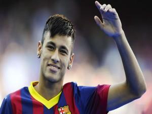 Neymar saludando con la camiseta del F.C. Barcelona