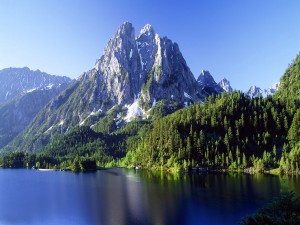 Montañas y bosques junto a un bello lago
