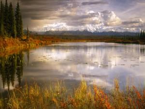 Montañas vistas desde la orilla del lago