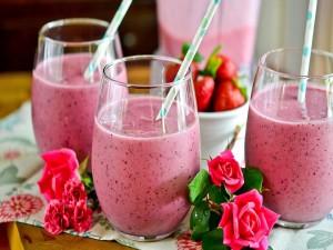 Ricos smoothies de fresas