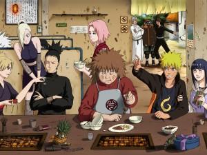 Naruto y sus compañeros comiendo en un restaurante