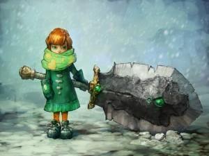 Niña sosteniendo una gran espada