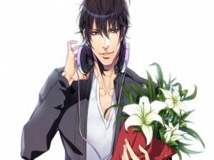 Chico anime con auriculares y un ramo de flores