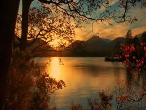 Sol brillando en un lago