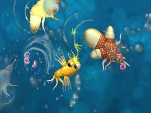 Virus y bacterias nadando