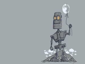 Robot sujetando a la luna con un lazo