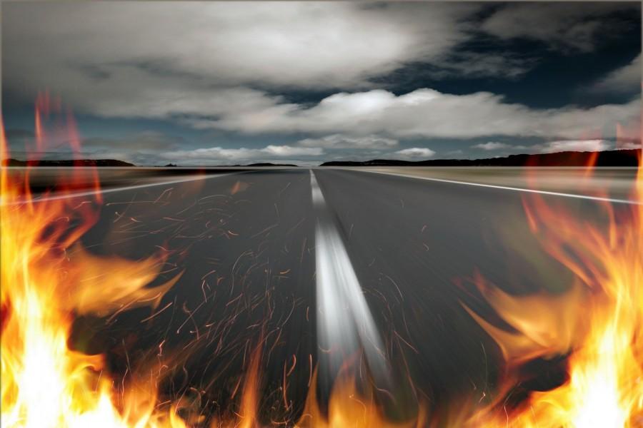 Fuego en una carretera