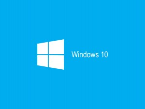 Windows 10 en fondo azul